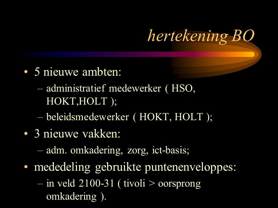hertekening BO 5 nieuwe ambten: –administratief medewerker ( HSO, HOKT,HOLT ); –beleidsmedewerker ( HOKT, HOLT ); 3 nieuwe vakken: –adm. omkadering, z