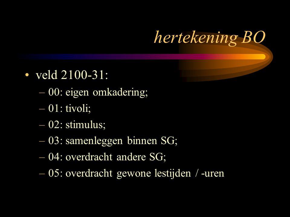 hertekening BO veld 2100-31: –00: eigen omkadering; –01: tivoli; –02: stimulus; –03: samenleggen binnen SG; –04: overdracht andere SG; –05: overdracht gewone lestijden / -uren