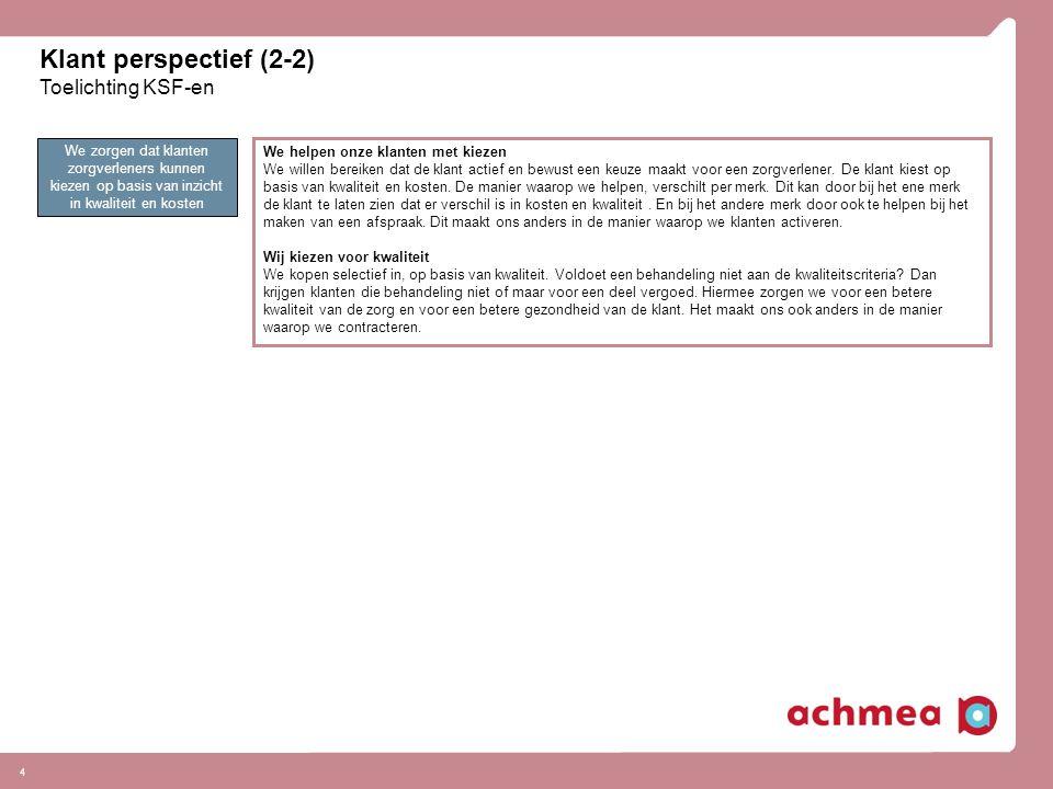 Klant perspectief (2-2) Toelichting KSF-en 4 We zorgen dat klanten zorgverleners kunnen kiezen op basis van inzicht in kwaliteit en kosten We helpen o