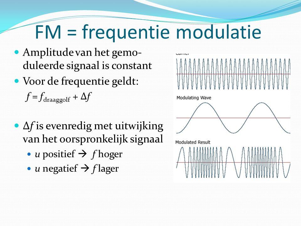 Het oorspronkelijk signaal wordt vermenigvuldigt met sinus met een hoge frequentie (= draaggolf) Radio 1: 98 MHz AM = Amplitude modulatie