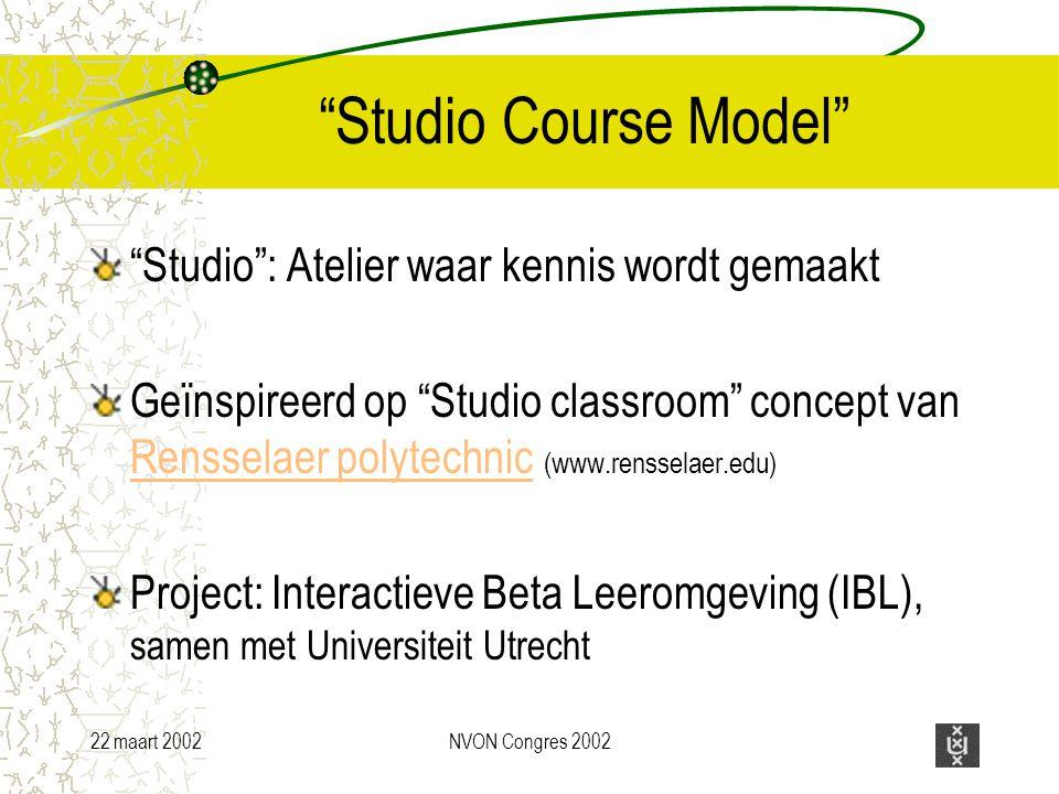 22 maart 2002NVON Congres 2002 Studio Course Model Studio : Atelier waar kennis wordt gemaakt Geïnspireerd op Studio classroom concept van Rensselaer polytechnic (www.rensselaer.edu) Rensselaer polytechnic Project: Interactieve Beta Leeromgeving (IBL), samen met Universiteit Utrecht