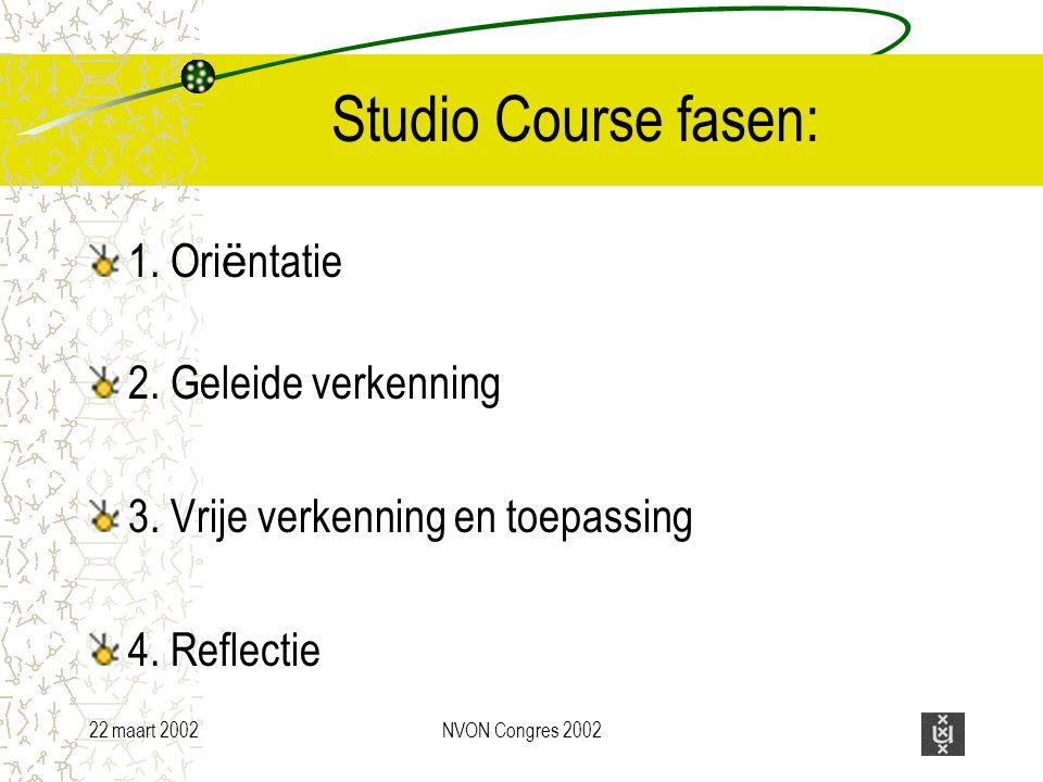 22 maart 2002NVON Congres 2002 Studio Course fasen: 1.