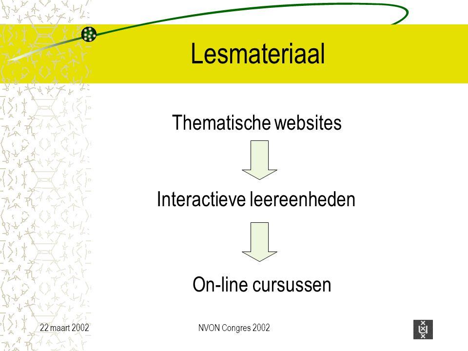 22 maart 2002NVON Congres 2002 Lesmateriaal Thematische websites Interactieve leereenheden On-line cursussen