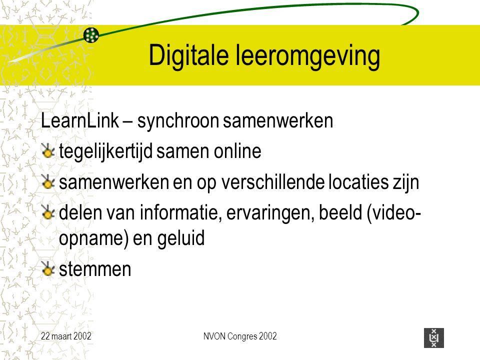 22 maart 2002NVON Congres 2002 Digitale leeromgeving LearnLink – synchroon samenwerken tegelijkertijd samen online samenwerken en op verschillende locaties zijn delen van informatie, ervaringen, beeld (video- opname) en geluid stemmen