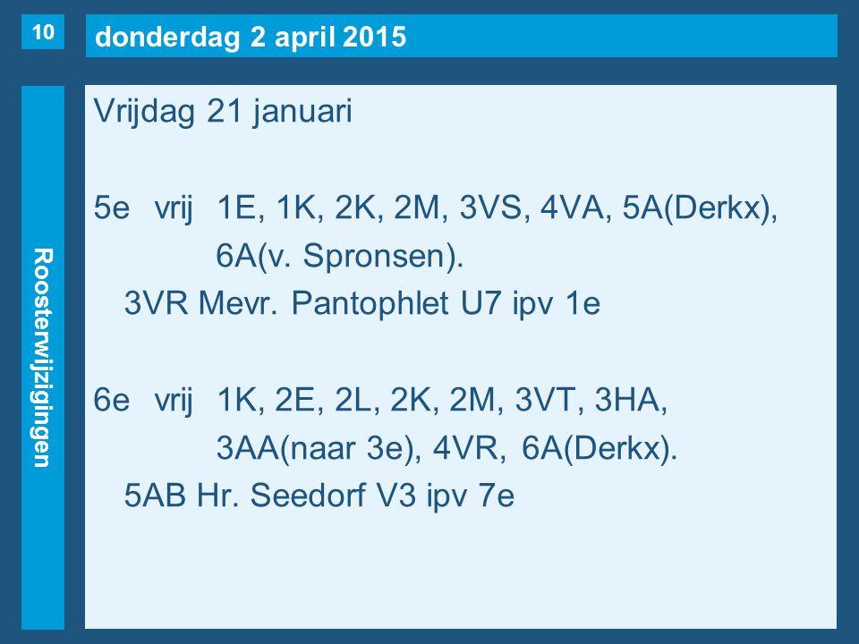 donderdag 2 april 2015 Roosterwijzigingen Vrijdag 21 januari 5evrij1E, 1K, 2K, 2M, 3VS, 4VA, 5A(Derkx), 6A(v.