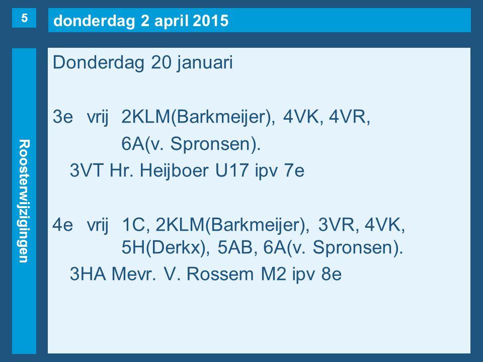 donderdag 2 april 2015 Roosterwijzigingen Donderdag 20 januari 3evrij2KLM(Barkmeijer), 4VK, 4VR, 6A(v.
