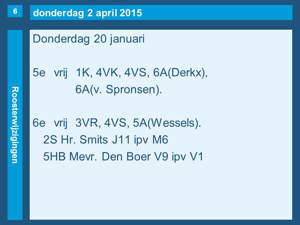 donderdag 2 april 2015 Roosterwijzigingen Donderdag 20 januari 5evrij1K, 4VK, 4VS, 6A(Derkx), 6A(v.
