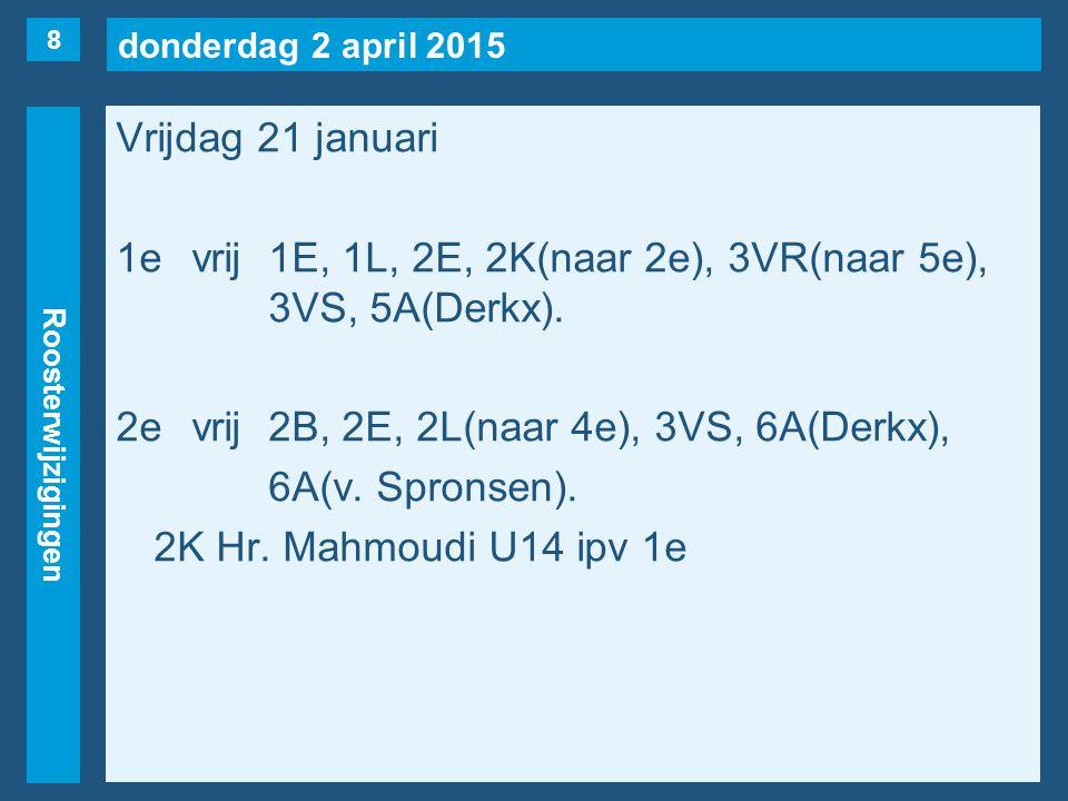 donderdag 2 april 2015 Roosterwijzigingen Vrijdag 21 januari 1evrij1E, 1L, 2E, 2K(naar 2e), 3VR(naar 5e), 3VS, 5A(Derkx).