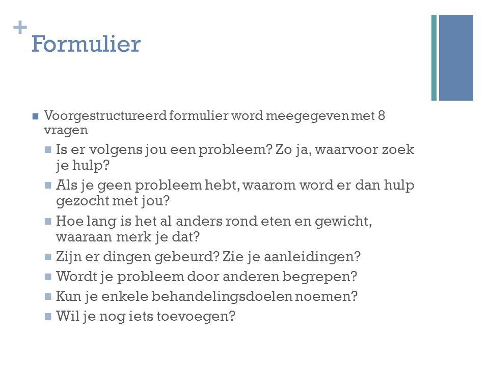 + Formulier Voorgestructureerd formulier word meegegeven met 8 vragen Is er volgens jou een probleem? Zo ja, waarvoor zoek je hulp? Als je geen proble