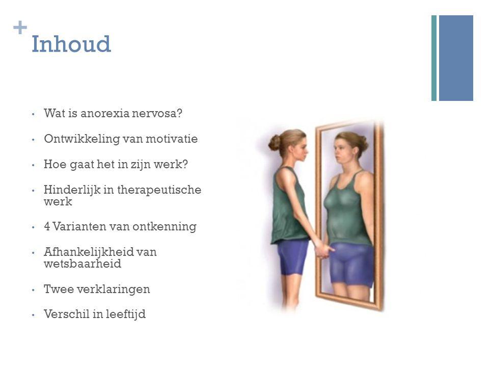+ Inhoud Wat is anorexia nervosa? Ontwikkeling van motivatie Hoe gaat het in zijn werk? Hinderlijk in therapeutische werk 4 Varianten van ontkenning A