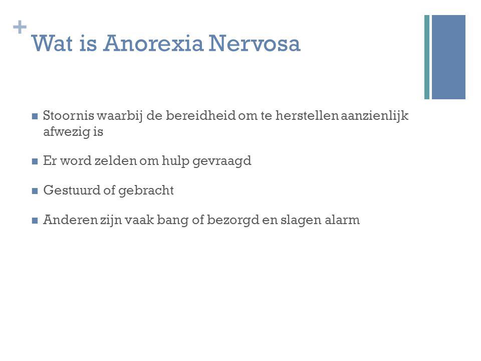 + Wat is Anorexia Nervosa Stoornis waarbij de bereidheid om te herstellen aanzienlijk afwezig is Er word zelden om hulp gevraagd Gestuurd of gebracht