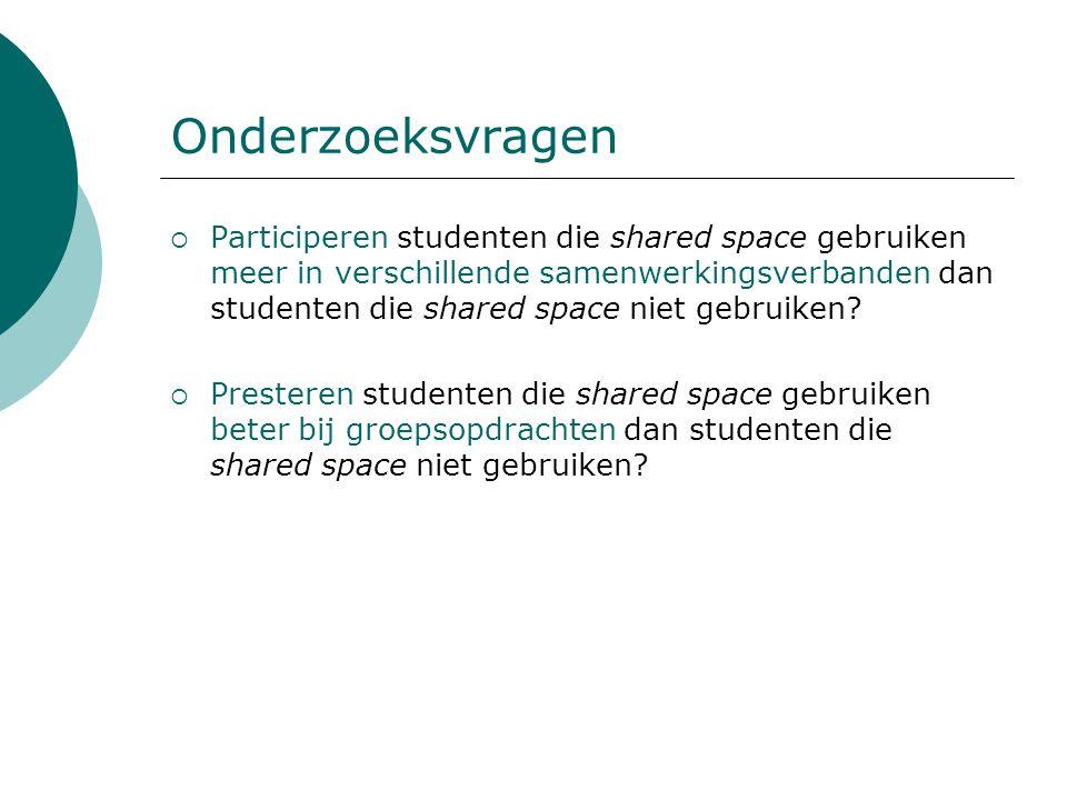 Onderzoeksvragen  Participeren studenten die shared space gebruiken meer in verschillende samenwerkingsverbanden dan studenten die shared space niet gebruiken.