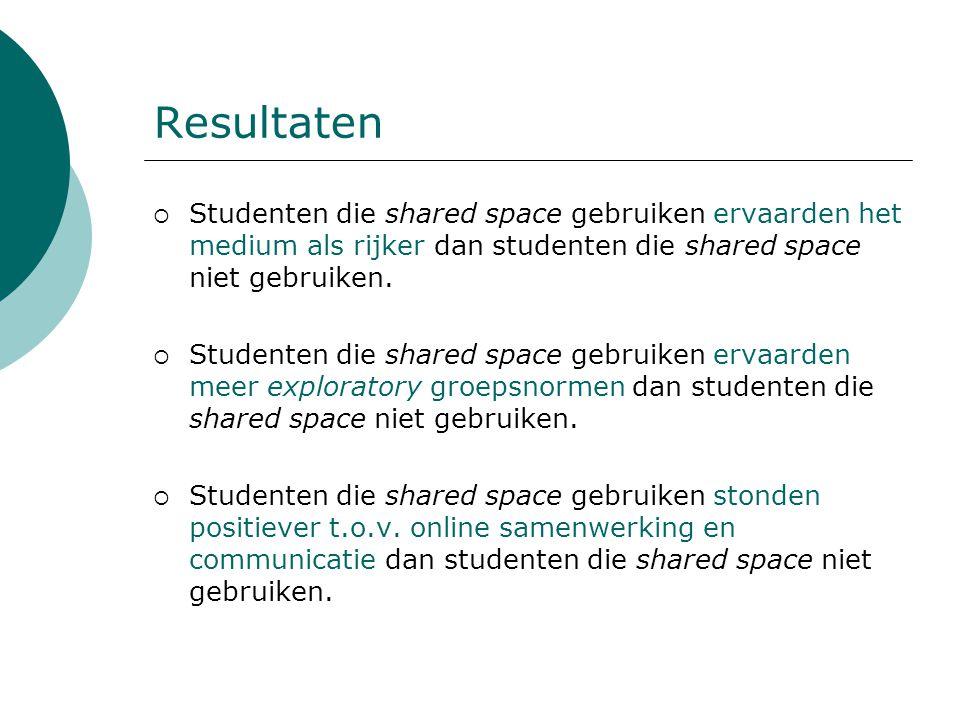 Resultaten  Studenten die shared space gebruiken ervaarden het medium als rijker dan studenten die shared space niet gebruiken.  Studenten die share