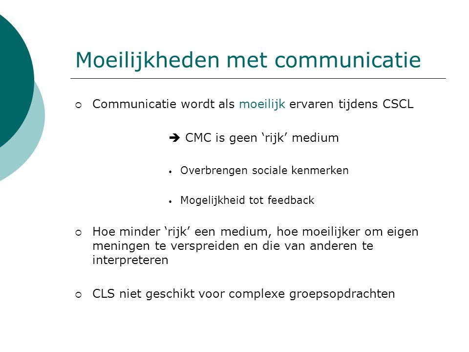 Moeilijkheden met communicatie  Communicatie wordt als moeilijk ervaren tijdens CSCL  CMC is geen 'rijk' medium Overbrengen sociale kenmerken Mogeli
