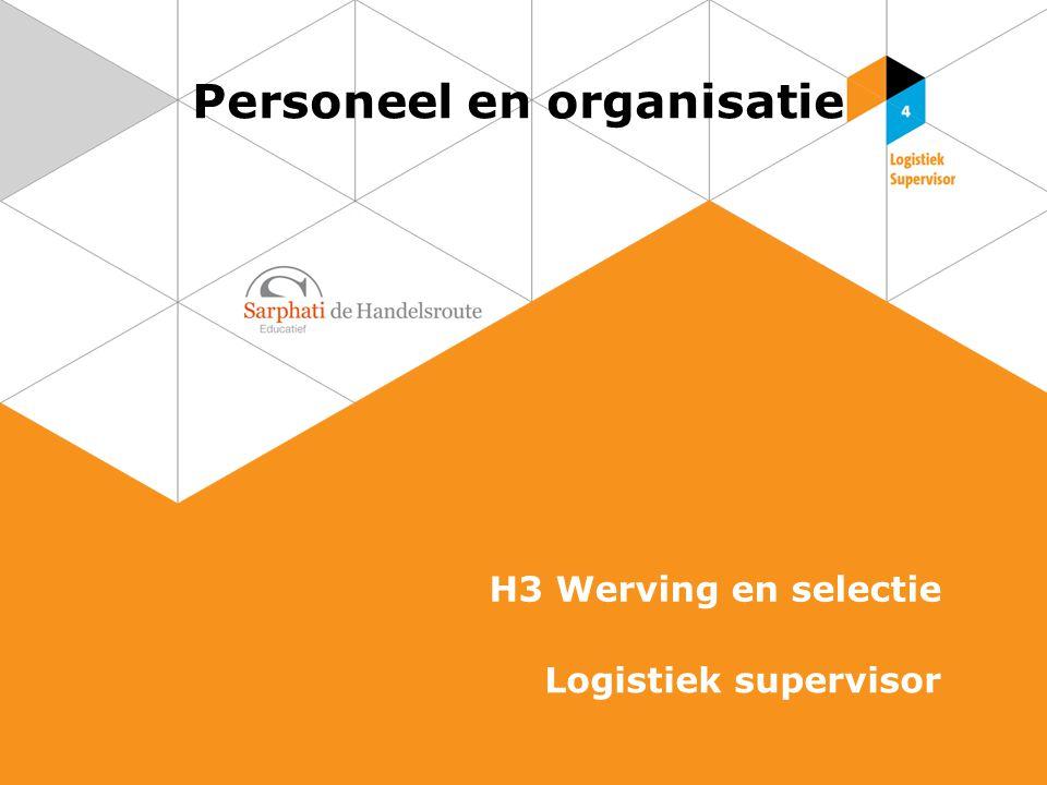 Personeel en organisatie H3 Werving en selectie Logistiek supervisor