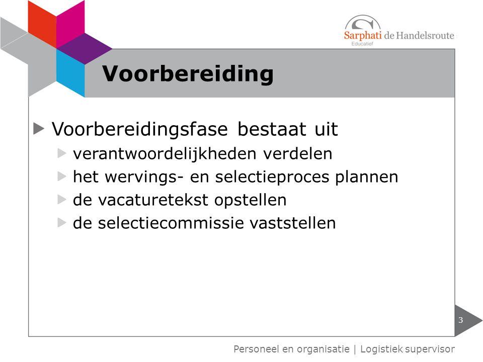 Voorbereidingsfase bestaat uit verantwoordelijkheden verdelen het wervings- en selectieproces plannen de vacaturetekst opstellen de selectiecommissie