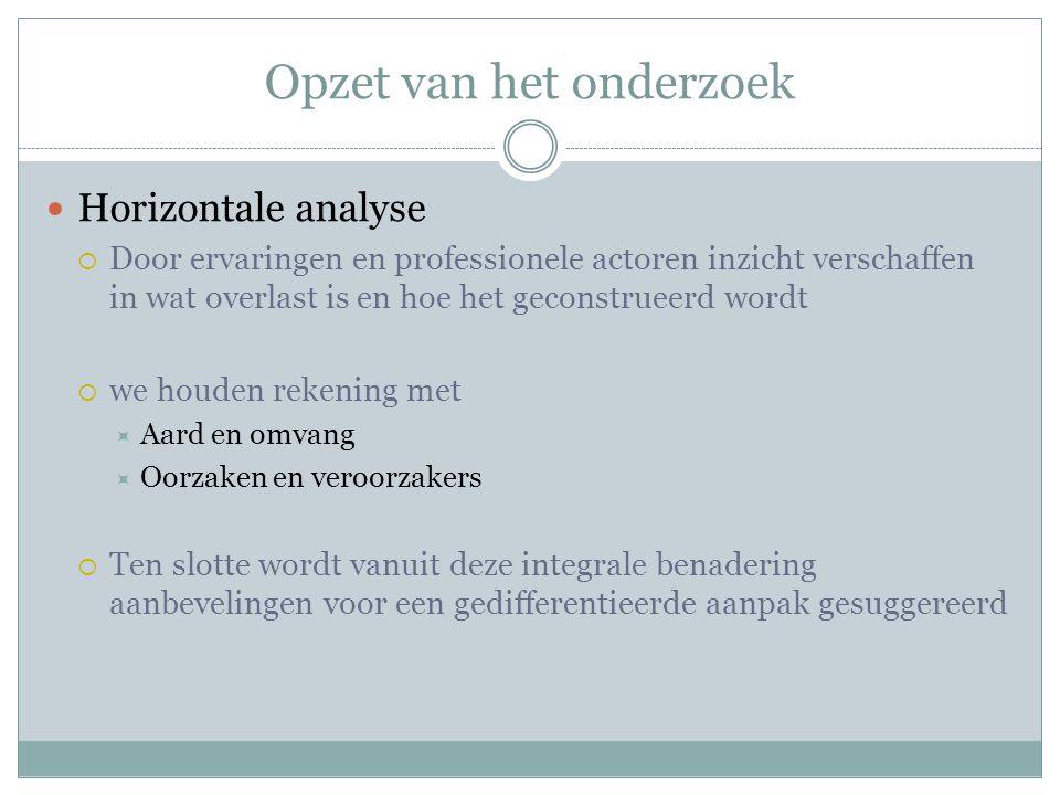 Opzet van het onderzoek Horizontale analyse  Door ervaringen en professionele actoren inzicht verschaffen in wat overlast is en hoe het geconstrueerd