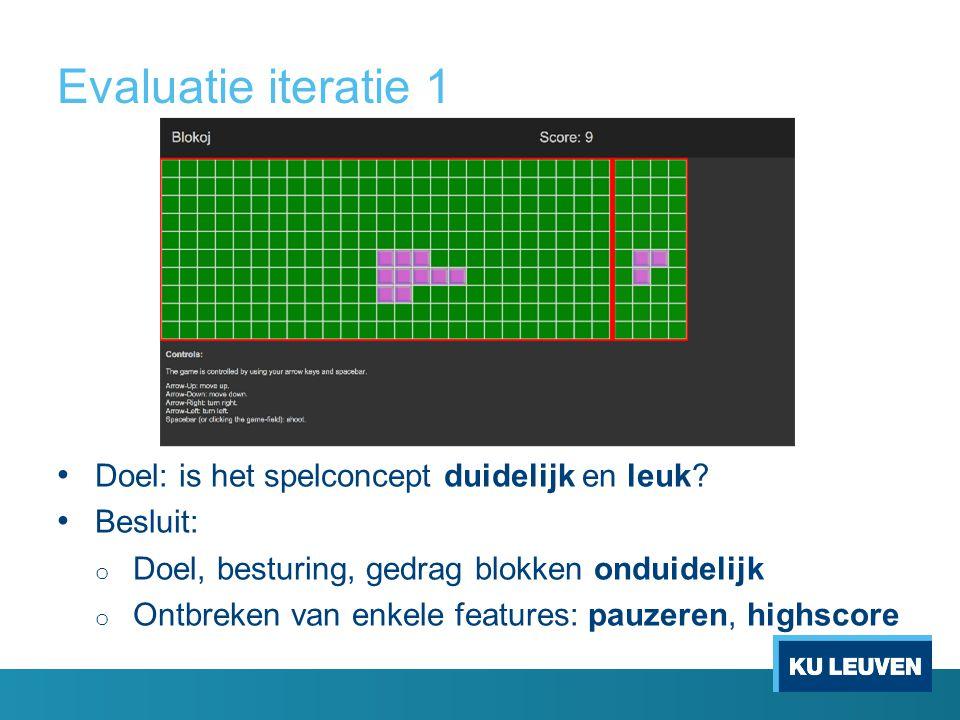 Evaluatie iteratie 1 Doel: is het spelconcept duidelijk en leuk.