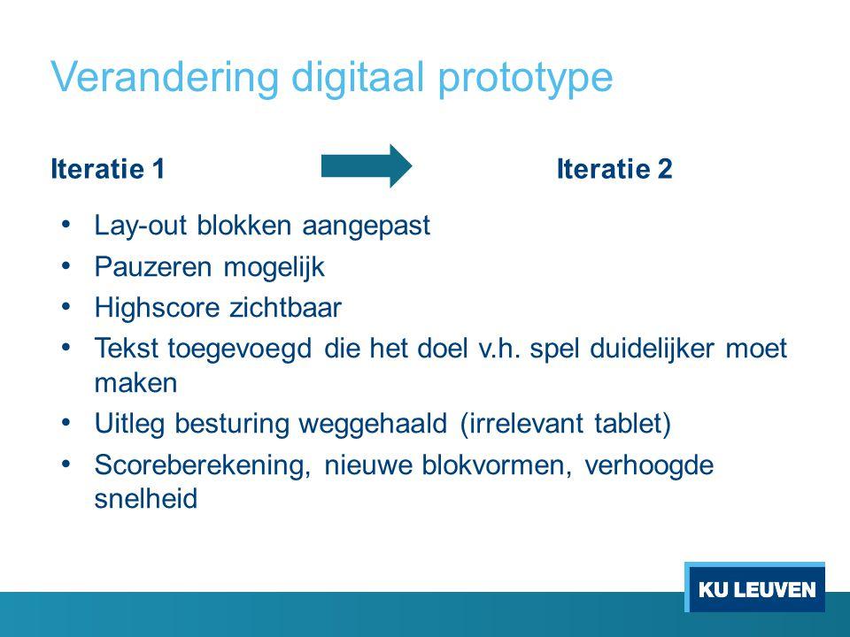 Verandering digitaal prototype Iteratie 1Iteratie 2 Lay-out blokken aangepast Pauzeren mogelijk Highscore zichtbaar Tekst toegevoegd die het doel v.h.