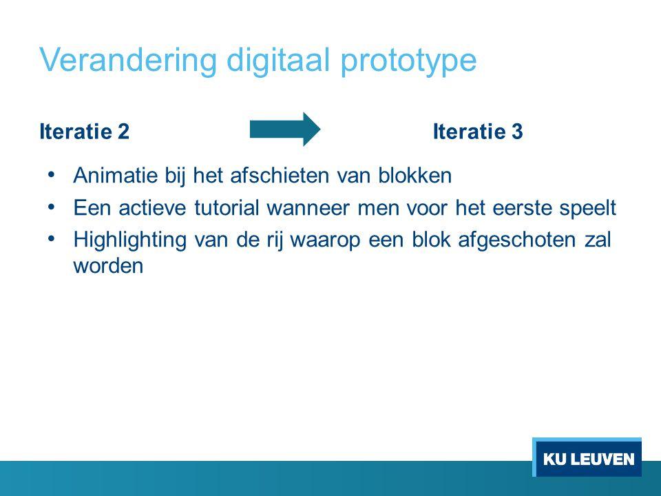 Verandering digitaal prototype Iteratie 2Iteratie 3 Animatie bij het afschieten van blokken Een actieve tutorial wanneer men voor het eerste speelt Highlighting van de rij waarop een blok afgeschoten zal worden