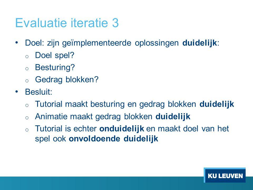 Evaluatie iteratie 3 Doel: zijn geïmplementeerde oplossingen duidelijk: o Doel spel.