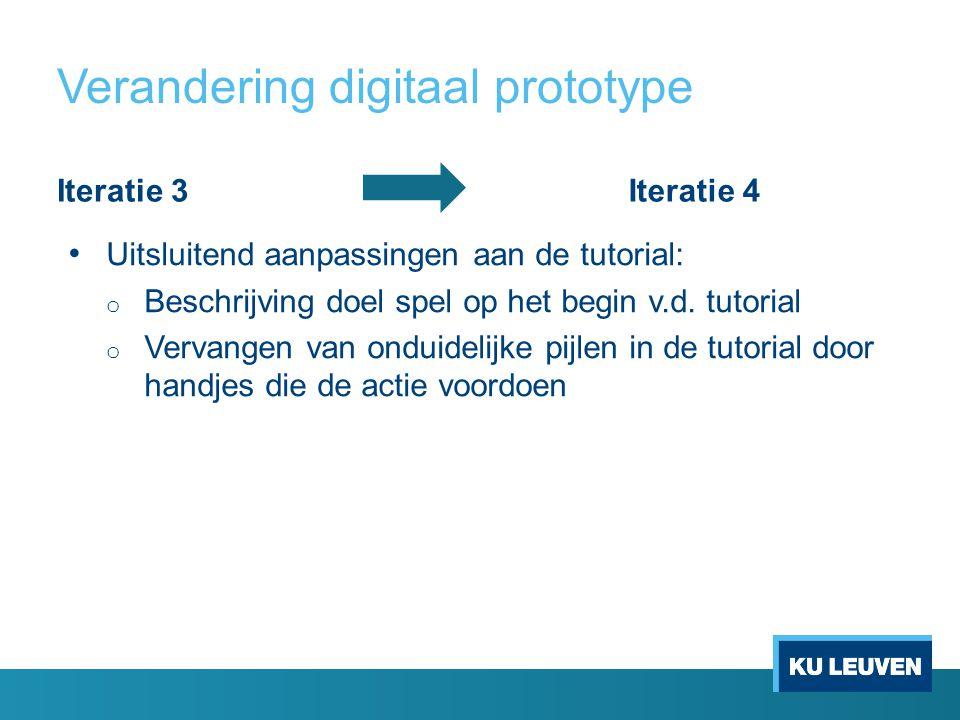 Verandering digitaal prototype Iteratie 3Iteratie 4 Uitsluitend aanpassingen aan de tutorial: o Beschrijving doel spel op het begin v.d.