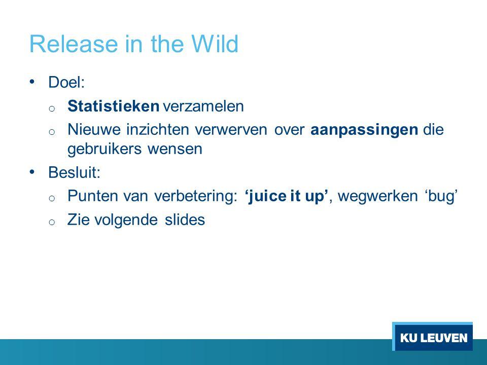 Release in the Wild Doel: o Statistieken verzamelen o Nieuwe inzichten verwerven over aanpassingen die gebruikers wensen Besluit: o Punten van verbetering: 'juice it up', wegwerken 'bug' o Zie volgende slides