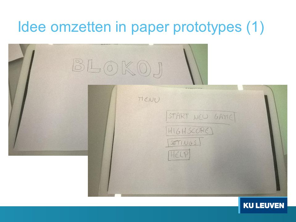 Idee omzetten in paper prototypes (1)