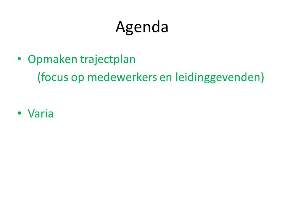 Agenda Opmaken trajectplan (focus op medewerkers en leidinggevenden) Varia