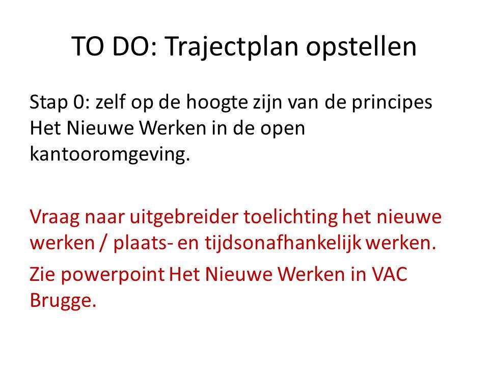 TO DO: Trajectplan opstellen Stap 0: zelf op de hoogte zijn van de principes Het Nieuwe Werken in de open kantooromgeving. Vraag naar uitgebreider toe