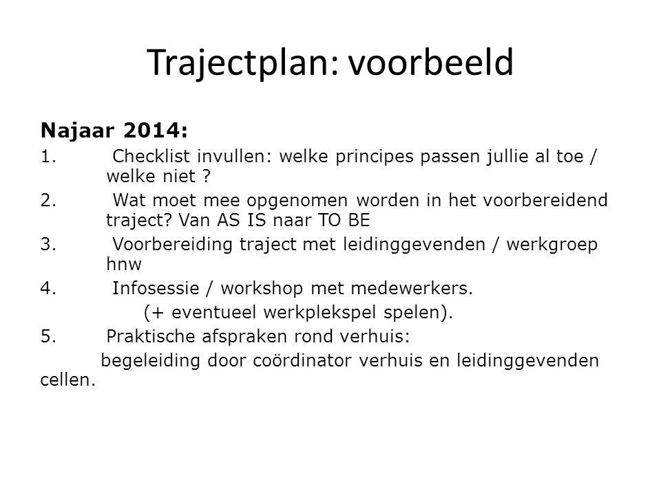 Trajectplan: voorbeeld Najaar 2014: 1. Checklist invullen: welke principes passen jullie al toe / welke niet ? 2. Wat moet mee opgenomen worden in het