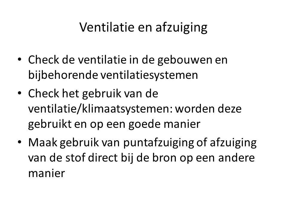 Ventilatie en afzuiging Check de ventilatie in de gebouwen en bijbehorende ventilatiesystemen Check het gebruik van de ventilatie/klimaatsystemen: wor