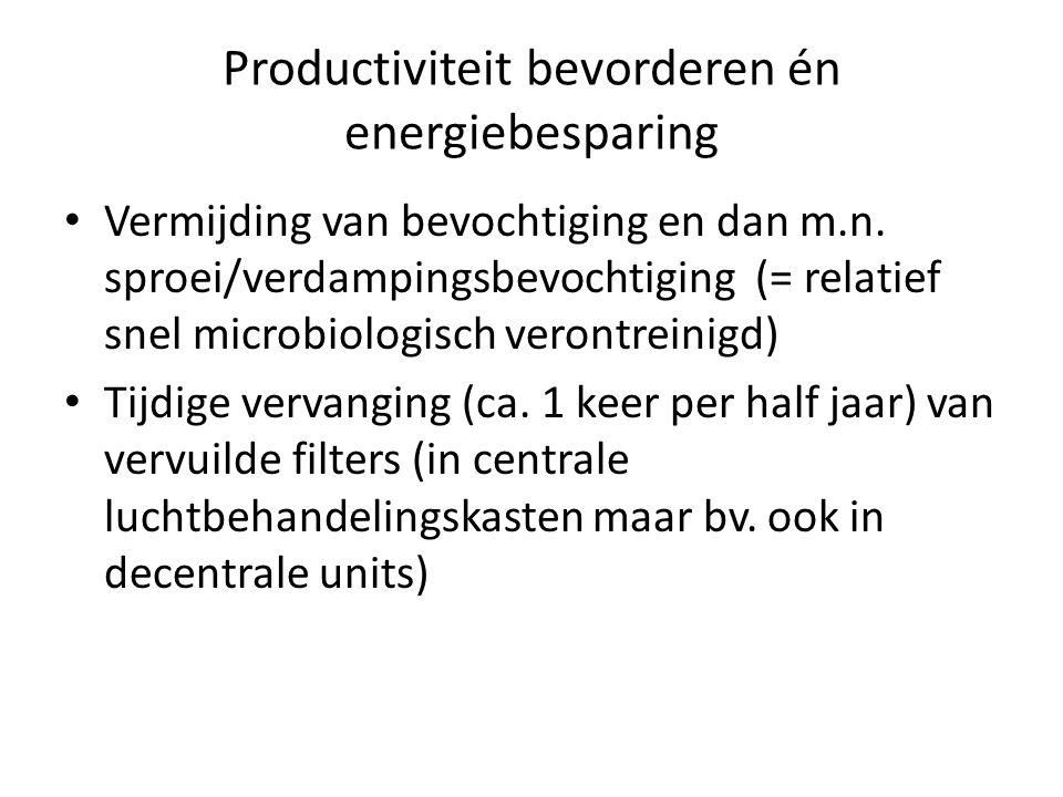 Productiviteit bevorderen én energiebesparing Vermijding van bevochtiging en dan m.n. sproei/verdampingsbevochtiging (= relatief snel microbiologisch