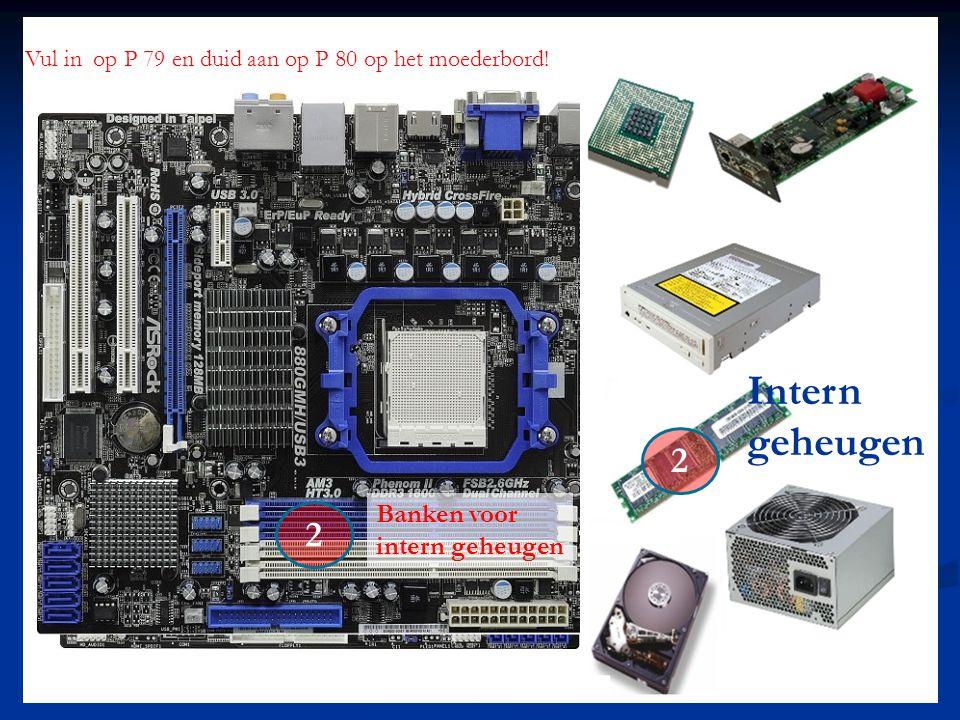 Intern geheugen 2 2 Vul in op P 79 en duid aan op P 80 op het moederbord! Banken voor intern geheugen