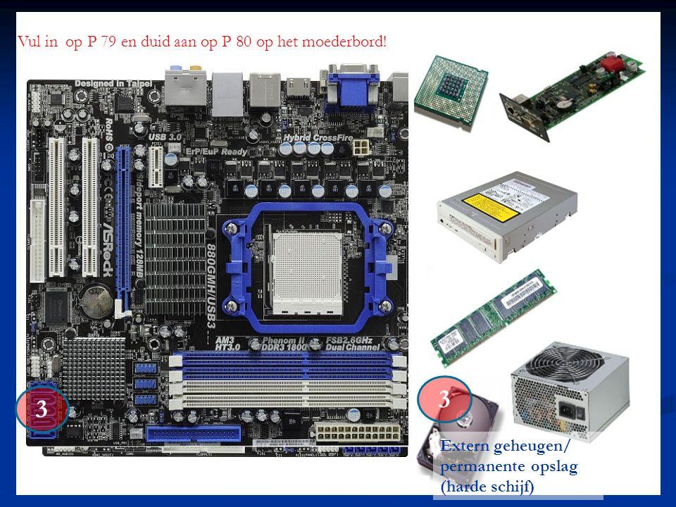 3 3 Vul in op P 79 en duid aan op P 80 op het moederbord! Extern geheugen/ permanente opslag (harde schijf)