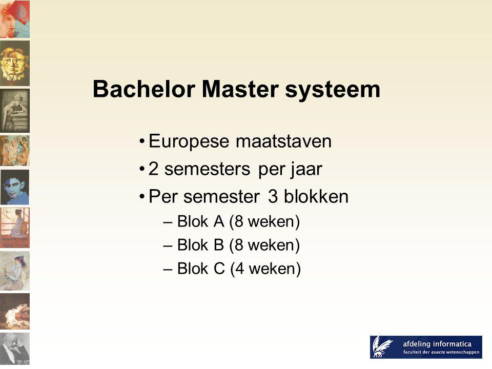 Bachelor Master systeem Europese maatstaven 2 semesters per jaar Per semester 3 blokken – Blok A (8 weken) – Blok B (8 weken) – Blok C (4 weken)