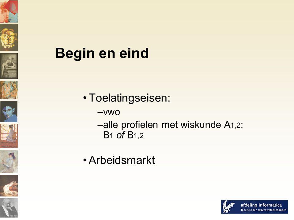 Toelatingseisen: –vwo –alle profielen met wiskunde A 1,2 ; B 1 of B 1,2 Arbeidsmarkt Begin en eind
