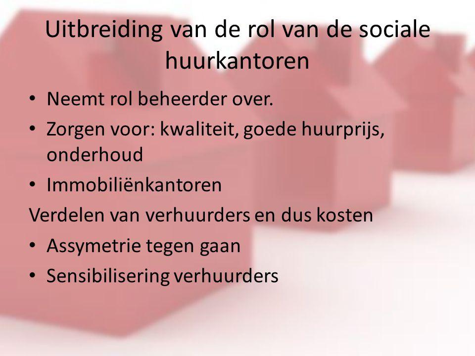 Uitbreiding van de rol van de sociale huurkantoren Neemt rol beheerder over.