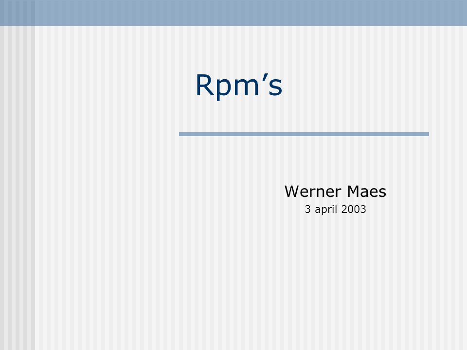 Rpm's Werner Maes 3 april 2003