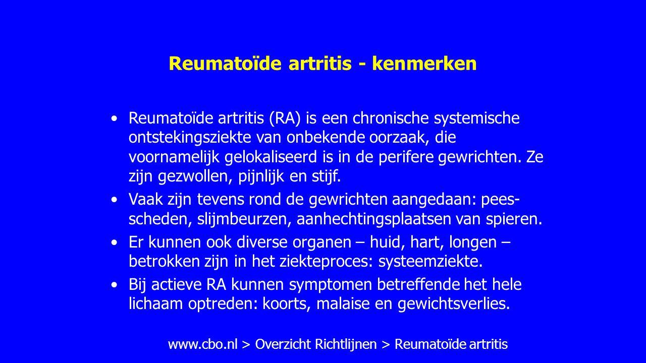 Reumatoïde artritis - therapie III (CBO) Bij hoge, persisterende ziekteactiviteit, reumafactor positiviteit en eventueel erosies dient een combinatie na drie maanden te worden overwogen: combinatie van MTX + sulfasalazine + glucocorticoïden of combinatie van MTX + leflunomide of combinatie MTX + hydroxychloroquine + sulfasalazine of combinatie van MTX met een anti-TNF-  -middel