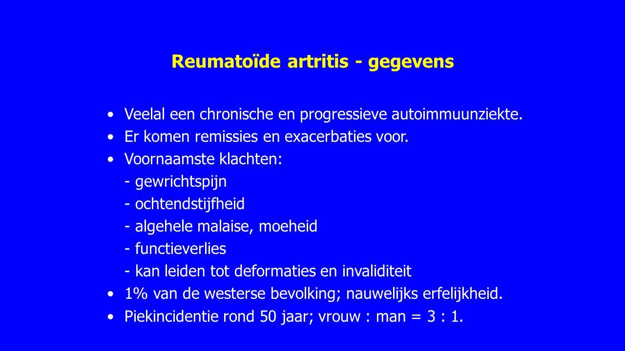 Reumatoïde artritis - NHG (2002) ochtendstijfheid gedurende minimaal 1 uur† artritis simultaan aanwezig in ≥ 3 gewrichtsgroepen [links of rechts PIP's, MCP's, pols, elleboog, knie, enkel, MTP's]† artritis minstens in één handgewricht: pols, MCP of PIP† symmetrische artritis† subcutane reumanoduli reumafactor aantoonbaar radiologische veranderingen † Criteria moeten ten minste zes weken aanwezig zijn.