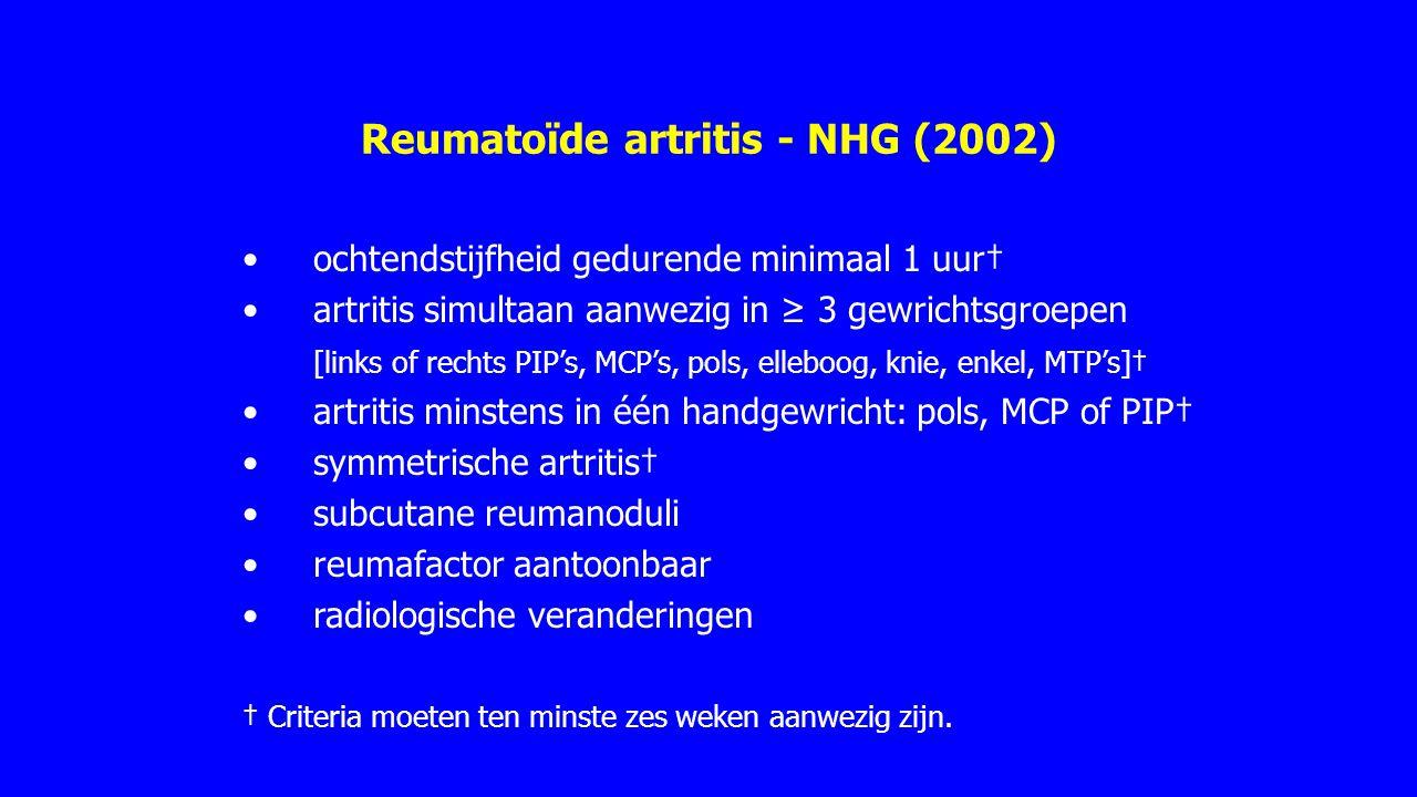 Reumatoïde artritis - CBO (2009) Een huisarts dient bij het vermoeden van reumatoïde artritis de patiënt tijdig te verwijzen naar een reumatoloog.