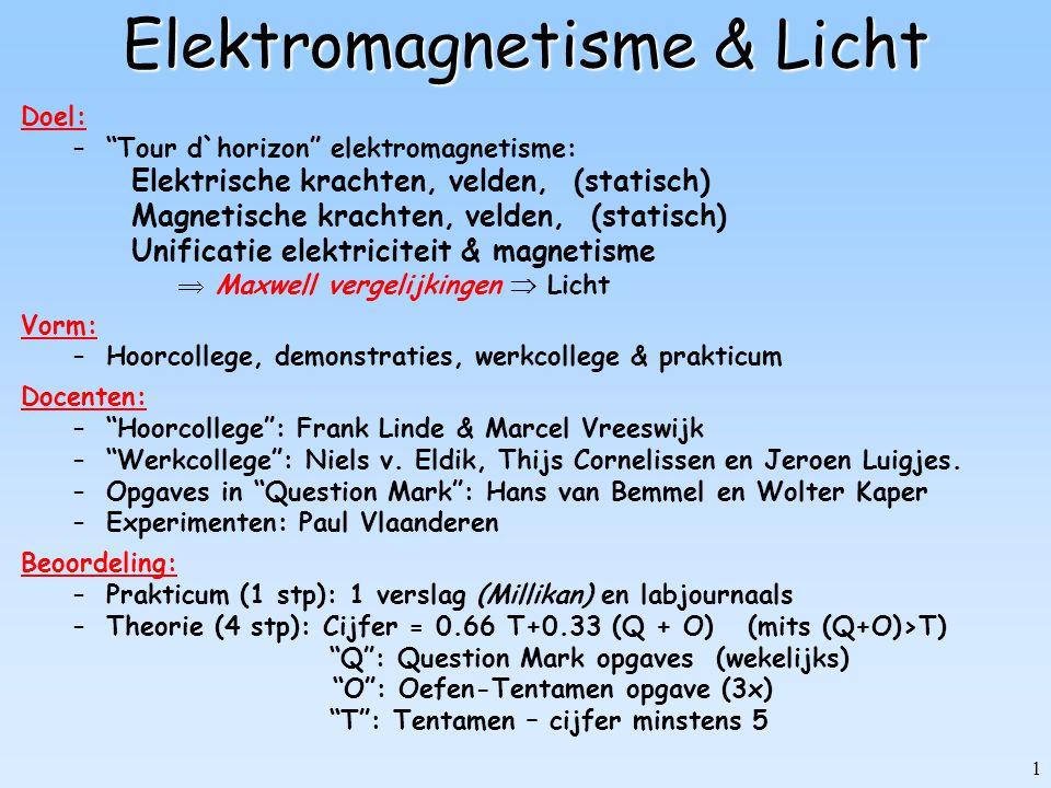 "1 Elektromagnetisme & Licht Doel: –""Tour d`horizon"" elektromagnetisme: Elektrische krachten, velden, (statisch) Magnetische krachten, velden, (statisc"