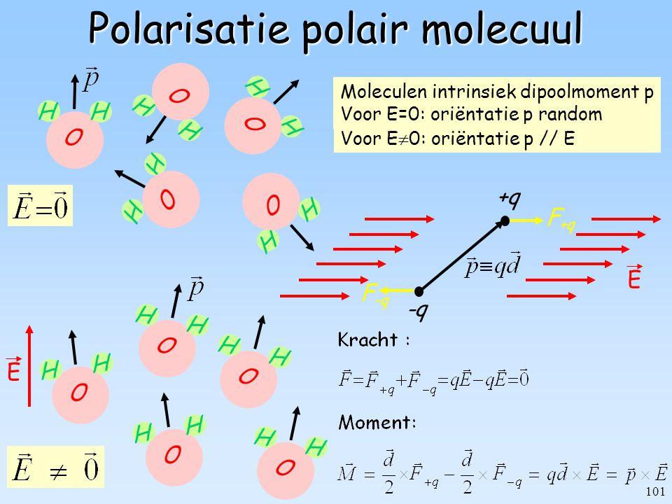 101 Polarisatie polair molecuul F -q F +q +q -q E H H H H H H H H O H H O O O O Moleculen intrinsiek dipoolmoment p Voor E=0: oriëntatie p random O H