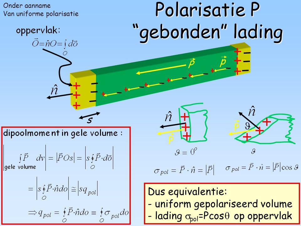 """104 P P Polarisatie P """"gebonden"""" lading p s P Dus equivalentie: - uniform gepolariseerd volume - lading  pol =Pcos  op oppervlak P Onder aanname Van"""