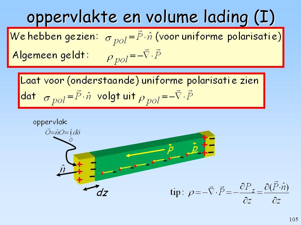 105 oppervlakte en volume lading (I) P p dz
