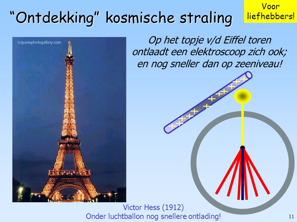 """11 """"Ontdekking"""" kosmische straling Op het topje v/d Eiffel toren ontlaadt een elektroscoop zich ook; en nog sneller dan op zeeniveau! Victor Hess (191"""