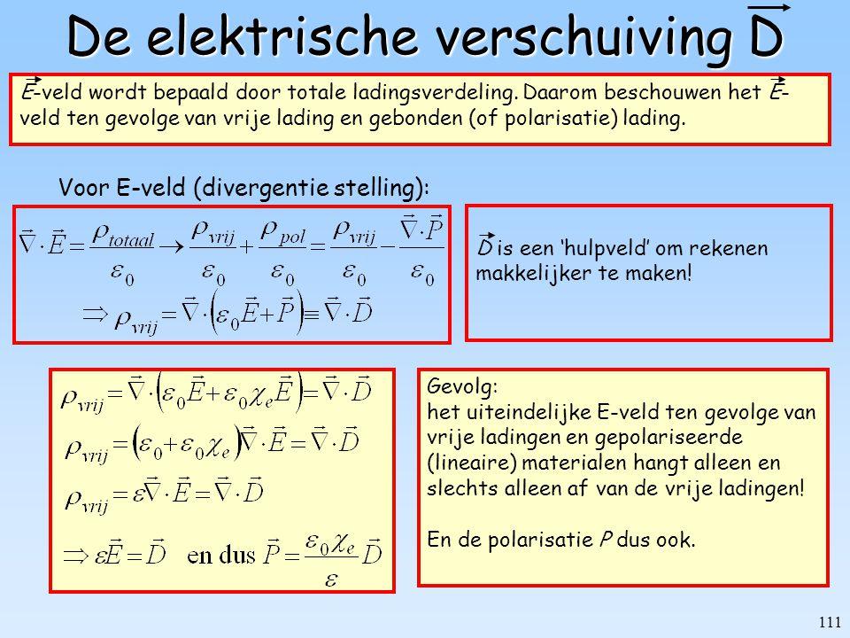 111 De elektrische verschuiving D E-veld wordt bepaald door totale ladingsverdeling. Daarom beschouwen het E- veld ten gevolge van vrije lading en geb