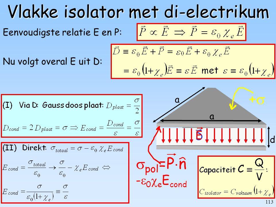 113 d a a ++ Vlakke isolator met di-electrikum Nu volgt overal E uit D: D Eenvoudigste relatie E en P:  pol =P  n -  0  e E cond E