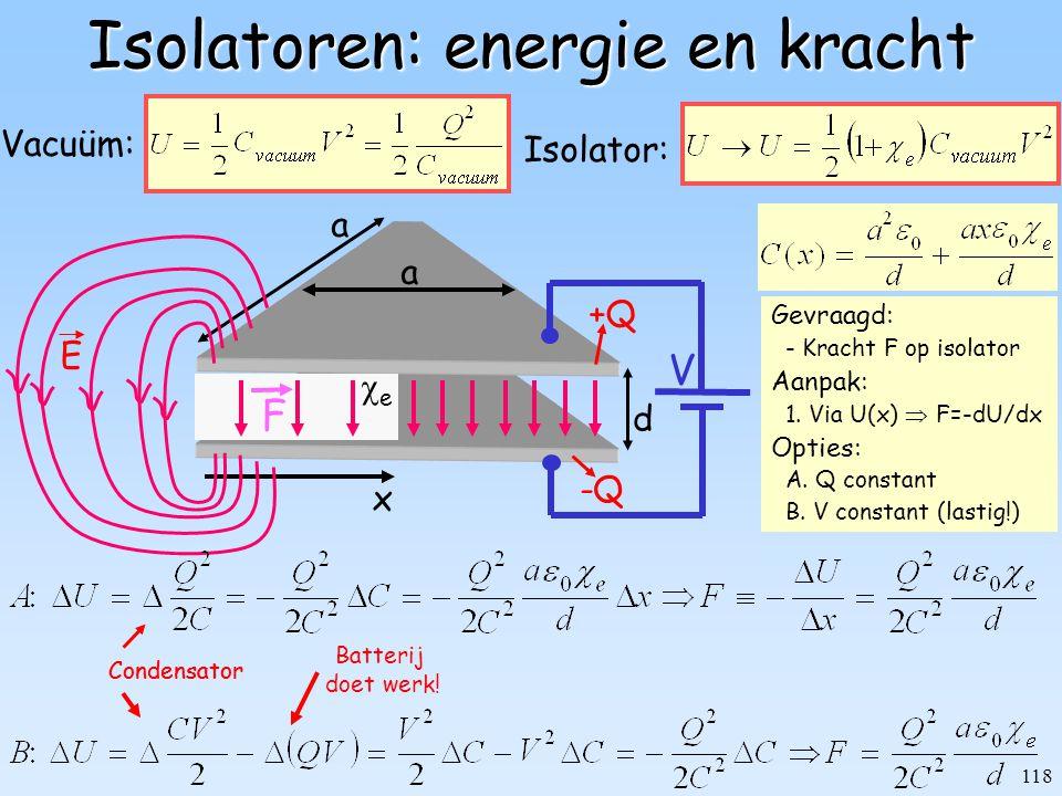 118 d a a Isolatoren: energie en kracht Isolator: Vacuüm: V Batterij doet werk! Condensator ee x F Gevraagd: - Kracht F op isolator Aanpak: 1. Via U
